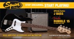 Squier Stop Dreaming, Start Playing! Set: Affinity Series Jazz Bass with Fender Rumble 15 Amp, Blac
