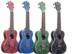 Amahi Quilted Ash Concert Uke - Green with bag C-24