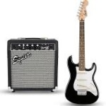 Squier Short Scale Strat Package - BLACK (Guitar & Amp) 0301812006