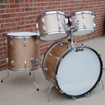 1968 Ludwig Hollywood 4 Piece Drum Kit, Champagne Sparkle, 12, 13, 16, 22 UDK2