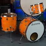 Vintage 1969 Ludwig Mod Orange 3 Piece Super Classic Drum Kit, Keystone UDUL1