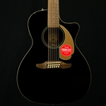 Fender Villager 12 String Acoustic Electric Guitar Black, Padded Gig Bag 0970753006