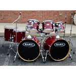 Used Mapex Pro M Double-Bass 8-piece kit. All-Maple shells, trans red lacquer finish. Includes hardware. UDK16