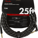 Fender Deluxe Series Instrument Cable, Straight/Right Angle 25', Black Tweed 0990820077
