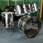 "1970's Ludwig Stainless Steel 12"" 13"" 16"" 22"" Drum Kit, B/O Badge, Metal Shells ISS16371"