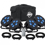 American Dj ADJ American DJ MEG386 Mega Flat Hex Pak Lighting Kit +Cables +Remote +Carry Bag
