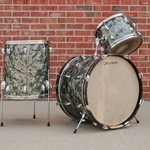 1962  Slingerland 3 Piece kit with Rogers mounts, Black Oyster Pearl U60SSLING3PC