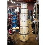 Vintage 70s Ludwig 6 Piece Concert Kit Shell Pack in White Marine Pearl UDK5