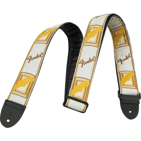 "Fender White Brown Yellow 2"" Monogrammed Strap 0990683000"