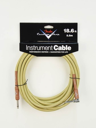 Fender® Custom Shop Performance Series Cable, 18.6', Angled, Tweed 0990820031