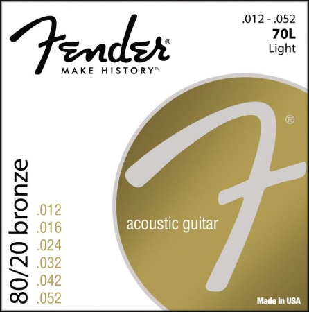 Fender 70L 80/20 Bronze Acoustic Strings - Light
