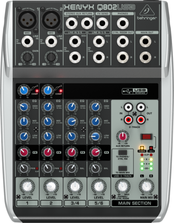 Behringer Q802USB Premium 8-Input 2-Bus Mixer with XENYX Mic Preamps & Compressors, British EQs and