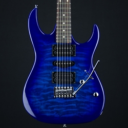 Ibanez GRX70 Quilted Top Electric Guitar, Transparent Blue Burst GRX70QATBB