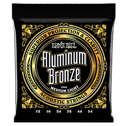 Ernie Ball Medium Light Aluminum Bronze Acoustic Guitar Strings - 12-54 Gauge P02566