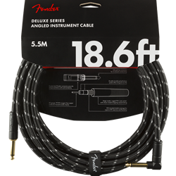Fender Deluxe Series Instrument Cable, Straight/Angle, 18.6', Black Tweed 0990820079
